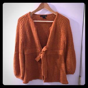 Rust orange tie cardigan